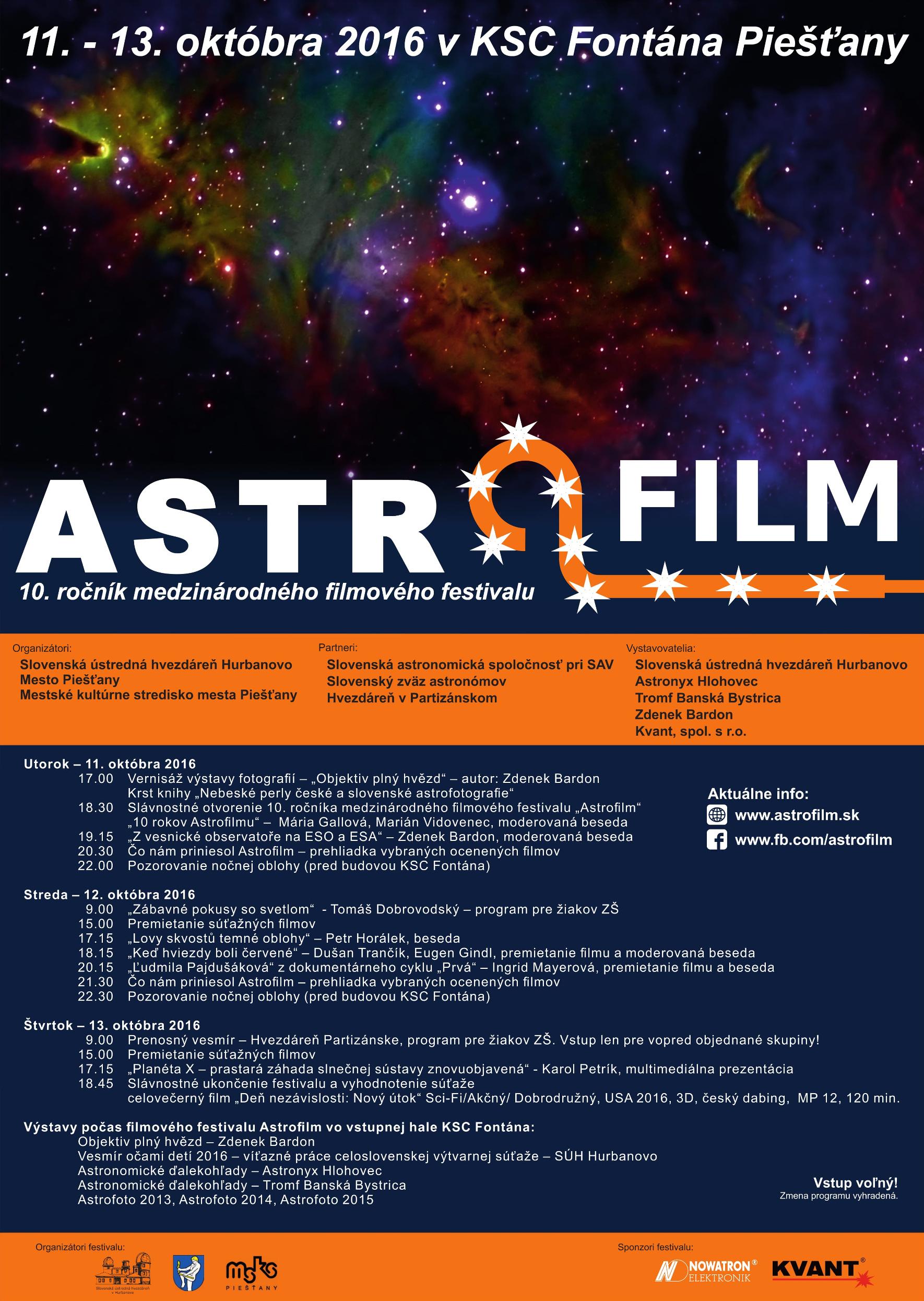 Obr.1: Program 10. ročníka medzinárodného filmového festivalu Astrofilm