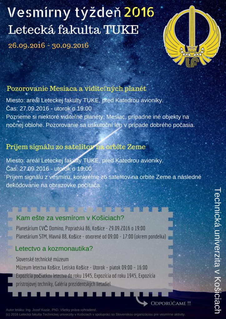 Obr.1: Plagát pre Vesmírny týždeň 2016