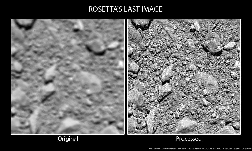 Obr.3: Posledný záber zo sondy Rosetta odfotený tesne pred dopadom na povrch kométy. Výška nad povrchom je len 20m. Zdroj: ESA