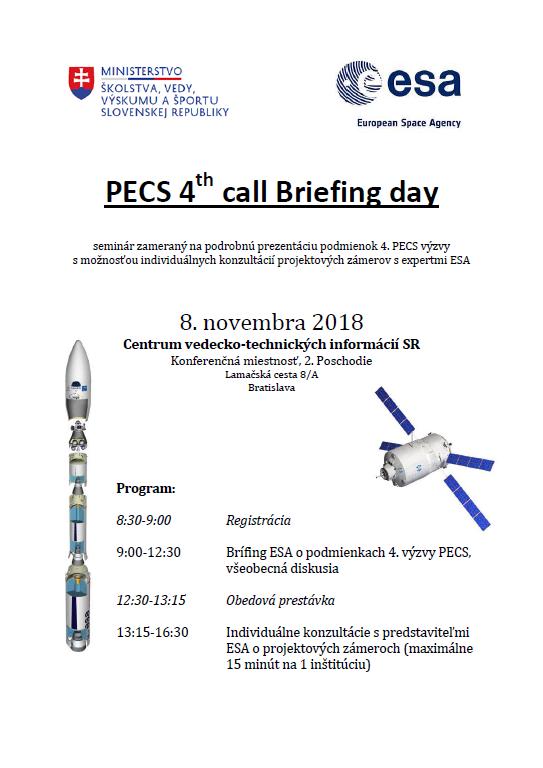 Brífing k štvrtej ESA PECS výzve